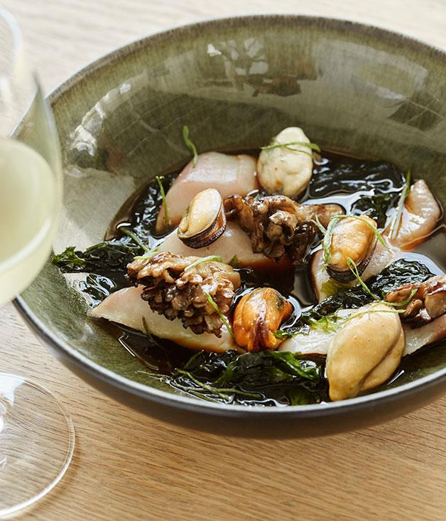 **The kitchen at Maison Estate** Cured yellowtail, shoyu broth, mussels and sea lettuce at the Kitchen at Maison Estate.