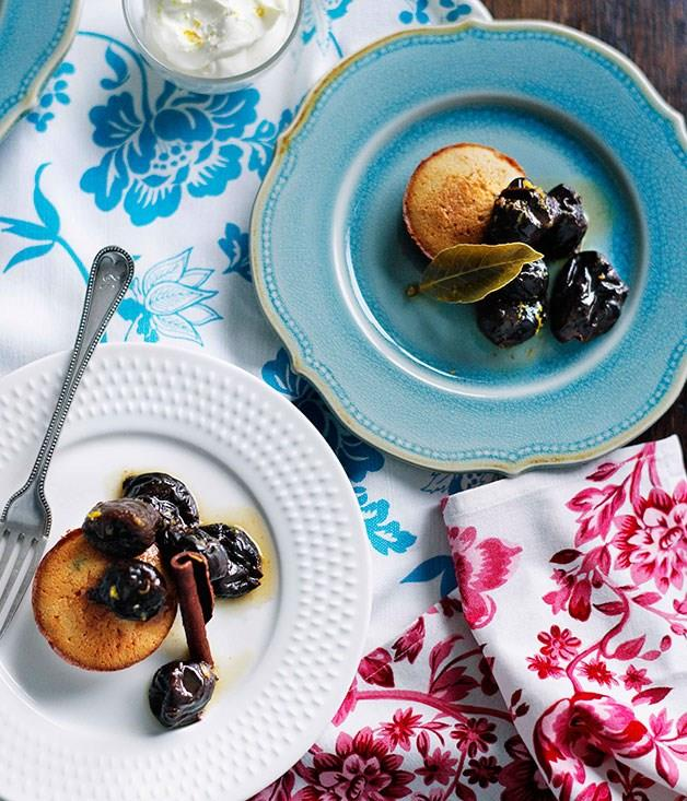 **Agen prunes with thyme financières and orange and cognac chantilly**