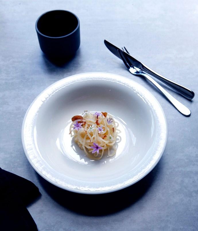 King Edward potatoes and society garlic with chives