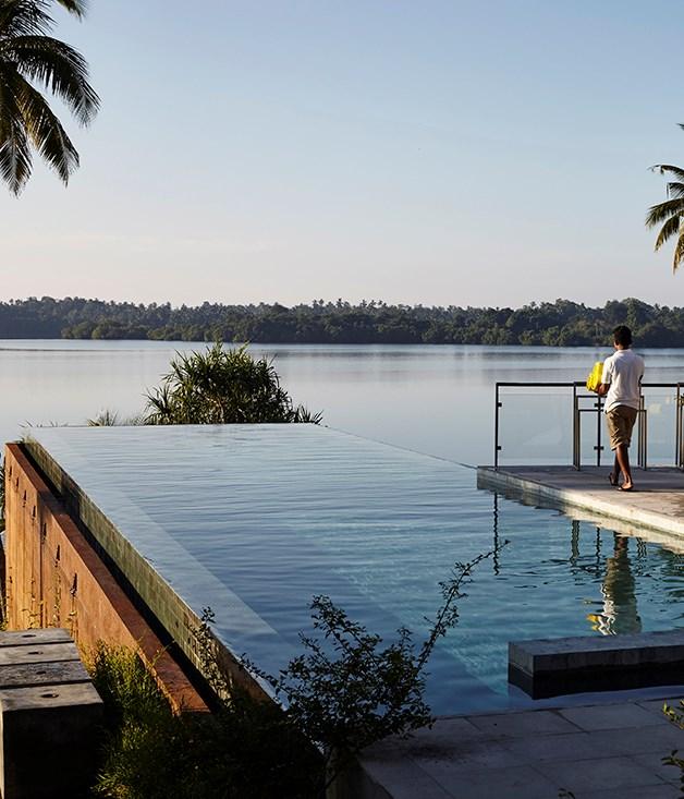 **The pool at Trilanka** The pool at Trilanka overlooking Koggala Lake on Sri Lanka's south coast.
