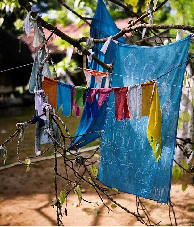 **Prayer flags** Prayer flags in Yatagala Raja Maha Viharaya Buddhist Temple.