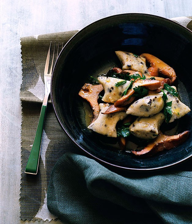 """[Olive gnocchi with pine mushrooms](https://www.gourmettraveller.com.au/recipes/browse-all/olive-gnocchi-with-pine-mushrooms-10138