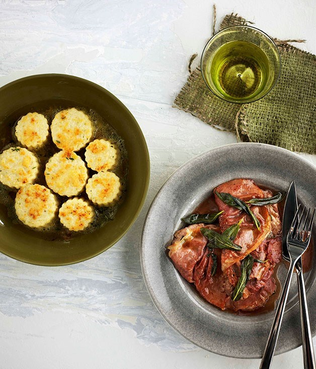 "[Gnocchi alla romana with saltimbocca](https://www.gourmettraveller.com.au/recipes/browse-all/gnocchi-alla-romana-with-saltimbocca-11047|target=""_blank"")"