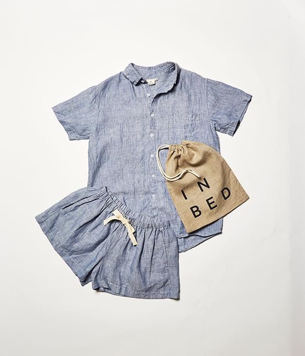 "**Sleep easy** The luxe bed-linen label InBed has released a sleepwear range. Robes in linen and in cashmere, and linen pyjamas in long and short versions come in a neutral colour wheel of chambray, charcoal, dove grey and white.  _InBed short sleeve shirt, $82, and linen shorts, $75. [inbedstore.com](http://www.inbedstore.com ""InBed"")_"