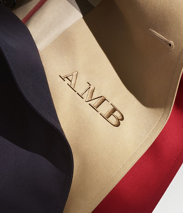 "**Initial thoughts** Whether you love customisation or you're simply forgetful, Burberry's new monogram service on its trench coats will appeal. Three initials in a choice of 15 thread colours can be sewn discreetly on an inside panel of a new coat, $240 for the monogram.  [_au.burberry.com_](http://au.burberry.com ""Burberry"")"
