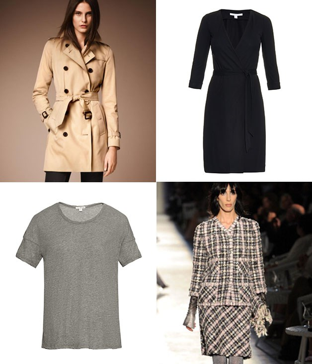 **Capsule wardrobe** **1\. Burberry trench coat - c.1914**  Baptised in the trenches First World War. Rick Blaine, Columbo, Jacque Clouseau and Carmen Sandiego wouldn't have been the same without the trench coat.  **2\. Diane Von Furstenberg, wrap dress - 1974**  Popular just doesn't cut it - Von Furstenberg sold over one million wrap dresses within two years, and she's still going strong with designs adapted from the original.  **3\. Coco Chanel, tweed suit - 1924**  Chanel took the idea of tweed fabric from men's sportswear and had the textile manufactured in the colours and finishes she wanted to use to create classic suits, jackets and coats for women.  **4\. T-shirt - issued by the U.S. Navy since 1913**  They might have started off as undergarments, but really, what would we be wearing if we didn't have T-shirts?  _Image credits: Getty Images. Burberry.com. Matchesfashion.com._