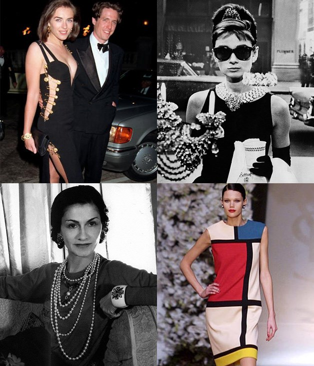 """**Feminine/feminist/femme fatale** **1\. Versace, safety-pin dress - 1994**  In recent history, any mention of """"that"""" dress either refers to #dressgate or the plunging Versace number held together with giant gold safety pins that Liz Hurley wore when she accompanied then partner Hugh Grant to a movie premiere.  **2\. Givenchy Italian satin black sheath dress - 1961**  Paired with pearls, oversized sunglasses and a foot-long cigarette holder, this is the classic dress Audrey Hepburn made famous in _Breakfast at Tiffany's_.  **3\. Yves Saint Laurent, The Mondrian Collection dress - 1965**  In the autumn of 1965, Saint Laurent took Piet Mondrian's signature abstract aesthetic to the catwalk with the shift dress as his canvas, fusing art and fashion with spectacular results.  **4\. Coco Chanel, Little Black Dress - 1926**  When American _Vogue_ published a picture of a simple black dress by Chanel, they foresaw the cult of the LBD, describing it as """"a sort of uniform for all women of taste"""".  _Image credits: Getty Images._"""
