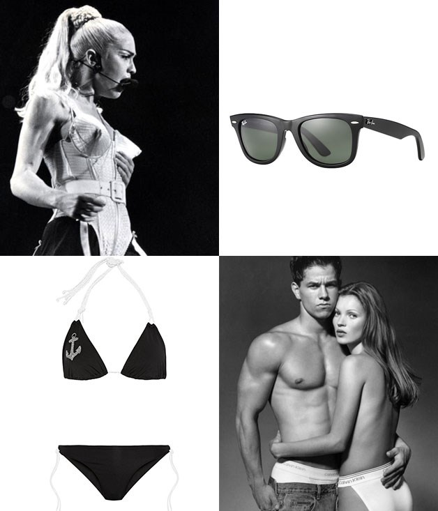 "**Means to a fashionable end** **1\. Jean Paul Gaultier, conical bustier - 1990**  Originally designed for Madonna's Blonde Ambition tour, this unforgettable number put Gaultier on the map and helped launch his international career.  **2\. Ray-Ban Wayfarer - 1956**  The Wayfarer has survived the ups and downs of fashion trends to become one of the best-selling sunglasses of all time. Our favourite celebrity endorsement? The Blues Brothers.  **3\. Calvin Klein men's underwear - 1982**  Klein took men's undies from functional to sexy. You might be thinking of Mark Wahlberg or Kate Moss, but spare a thought for Marci Klein: ""Every time I'm about to go to bed with a guy, I have to look at my dad's name all over his underwear,"" she once said.  **4\. Louis Réard, bikini - 1946**  We get the bit about it being atomic (the Vatican declared it sinful), but who would have guessed it was an engineer who come up with the bikini?  _Image credits: Getty Images. Herb Ritts. Ray-Ban.com.au. Net-a-porter.com._"