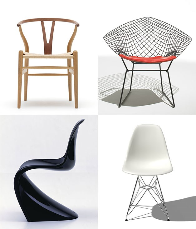 **Take a(nother) seat** **1\. Hans J. Wegner, CH24 Wishbone chair - 1949**  A repeat offender when it comes to high-end restaurant fit outs. Well-crafted and light in appearance, it looks as though it could have been designed yesterday.  **2\. Harry Bertoia, Bertoia Side chair - 1952**  Bertoia used steel, which had mostly been confined to industrial use, to create a delicate and light wire base for his striking chair designs.  **3\. Charles & Ray Eames, DSR chair - 1948**  It was difficult not to include more from this prolific design duo, but we have a soft spot for this particular piece, nicknamed the Eiffel chair. No prizes for guessing why.  **4\. Verner Panton, Panton chair - 1967**  This plastic fantastic number has been rocking the shiny/cool/futuristic look ever since the swinging sixties.  _Image credits: Courtesy of Fritz Hansen. Courtesy of Vitra. Courtesy of Herman Miller. Carlhansen.com_
