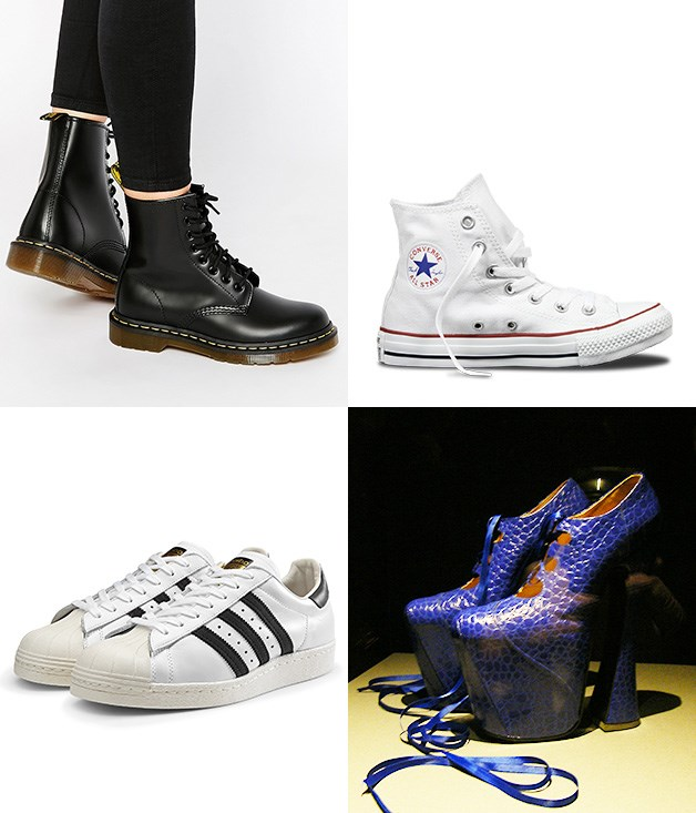 """**These boots were made for…** **1\. Bill Griggs, Dr Martens 1460 boots - 1960**  Pete Townshend donned them in the mid-'60s and now it's hard to imagine punks, rockers and rebels shod in anything else.  **2\. Chuck Taylor, Converse All Star - 1917**  Every teenager might be sporting a pair of these casual sneakers, but almost 100 years ago, they were sold as a serious athletic shoe for basketball players.  **3\. Vivienne Westwood, Super Elevated Gillie shoes - 1993**  The only pair of nine-inch heel, mock-crock blue shoes that model Naomi Campbell has ever tripped over on the catwalk in, and, to be honest, we really can't blame her.  **4\. Adidas Superstar - 1969**  Another old-school basketball shoe that's still relevant today. Perhaps Run DMC said it best: """"Me and my Adidas do the illest things… We travel on gravel, dirt road or street, I wear my Adidas when I rock the beat."""" Respect.  _Image credits:Nicolecolecole, CC by SA 2.0. Converse.com.au. Adidas.com.au. Asos.com_"""
