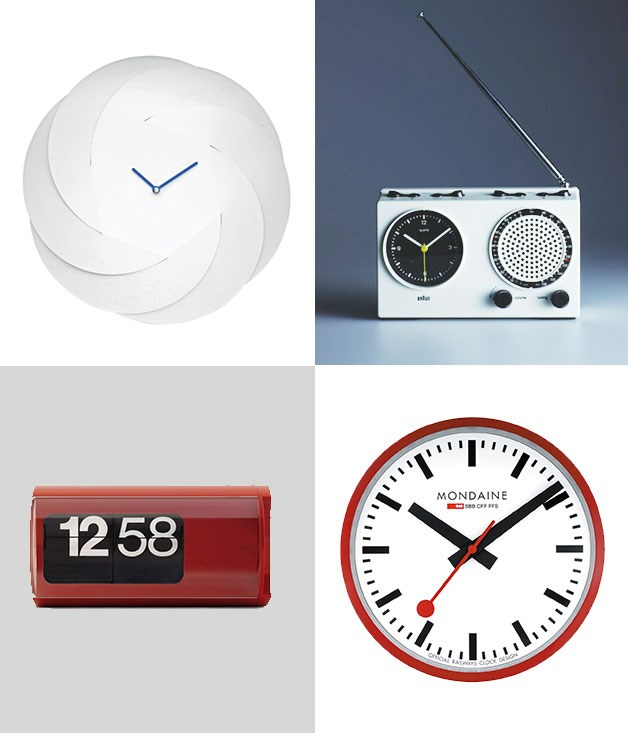 **Time out of mind** **1\. Abi Alice, Alessi Infinity clock - 2016**  Crafted out of steel, the minimal and gently curving form of the Infinity clock has a decidedly modern edge. Future classic alert.  **2\. Dietrich Lubs and Dieter Rams, ABR 21 clock radio - 1978**  It's the '70s and Braun, known for their clean and minimal design aesthetic, gets high-tech with their clock-meets-radio concept.  **3\. Hans Hilfiker, Mondaine Official Swiss Railways clock - 1944**  A timeless (no pun intended), simple and stylish design with bold lines instead of numbers and an eye-catching red hand with a circle at the end.  **4\. Gino Valle, Solari di Udine Cifra 3 clock - 1965**  Moving one step away from traditional timekeeping, the Cifra 3 is the quintessential and original flip clock, with fonts chosen by designer Massimo Vignelli.  _Image credits: Courtesy Alessi. Koichi Okuwaki. Mondaine.com. Solarilineadesign.com._