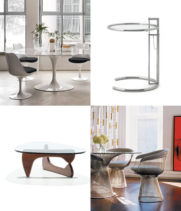 """**Top of the table** **1\. Eero Saarinen, Saarinen tables and Tulip chairs - 1957**  Saarinen's Pedestal Collection wanted to save us from """"the slum of legs"""". Not exactly ghetto fabulous, but we'll take it.  **2\. Eileen Gray, E 1027 table - 1927**  In the 1920s, it was a bold move to suggest a table shouldn't have four legs. Originally designed as a night table, the clever design of the base allowed it to side under the bed or around a bed post.  **3\. Warren Platner, Platner tables and chairs - 1966**  Intricate construction and fine lines give the sleek steel and glass finish of Platner's tables, chairs and ottomans a decidedly classic feel.  **4\. Isamu Noguchi, Noguchi table - 1939**  If it was good enough for the president of MOMA, it's probably good enough for the rest of us mere mortals.  _Image credits:Courtesy of Knoll, Inc. Courtesy of Herman Miller. Classicon.com._"""