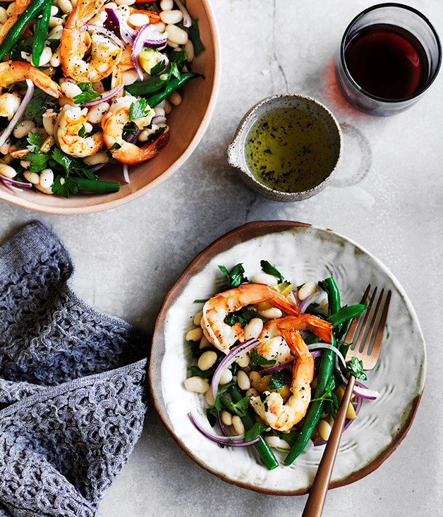 Prawn and bean salad with preserved lemon dressing