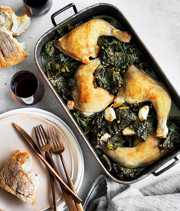 "**[Chicken braised with cavolo nero and wine](http://www.gourmettraveller.com.au/recipes/fast-recipes/chicken-braised-with-cavolo-nero-and-wine-13720|target=""_blank"")**"