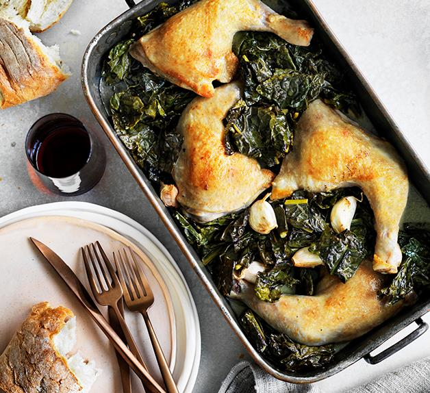 Chicken braised with cavolo nero and wine