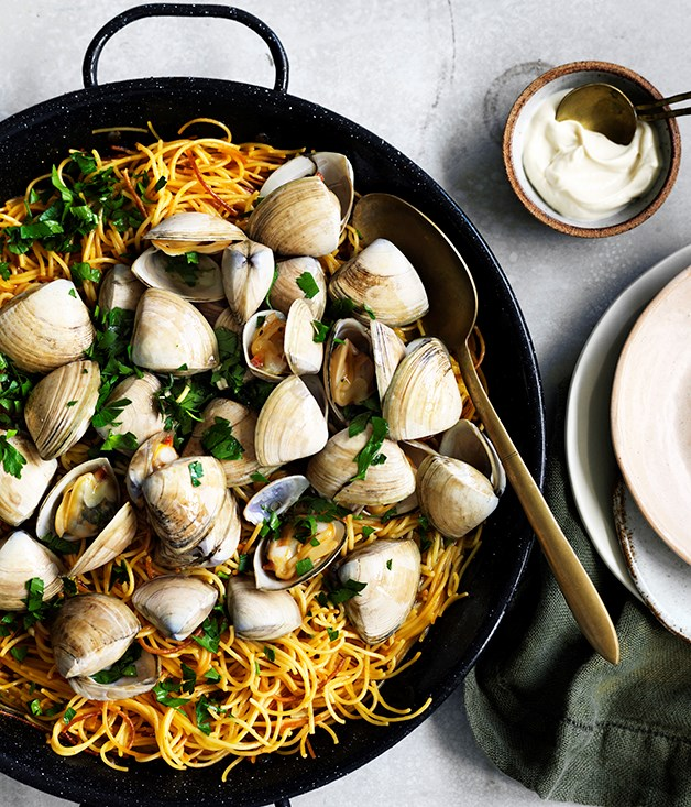 "[**Fideuà with clams**](https://www.gourmettraveller.com.au/recipes/fast-recipes/fideua-with-clams-13716 target=""_blank"")"