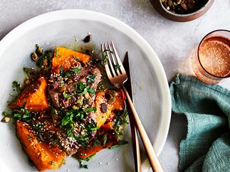 Lamb backstrap with roast pumpkin, anchovy, mint and sesame