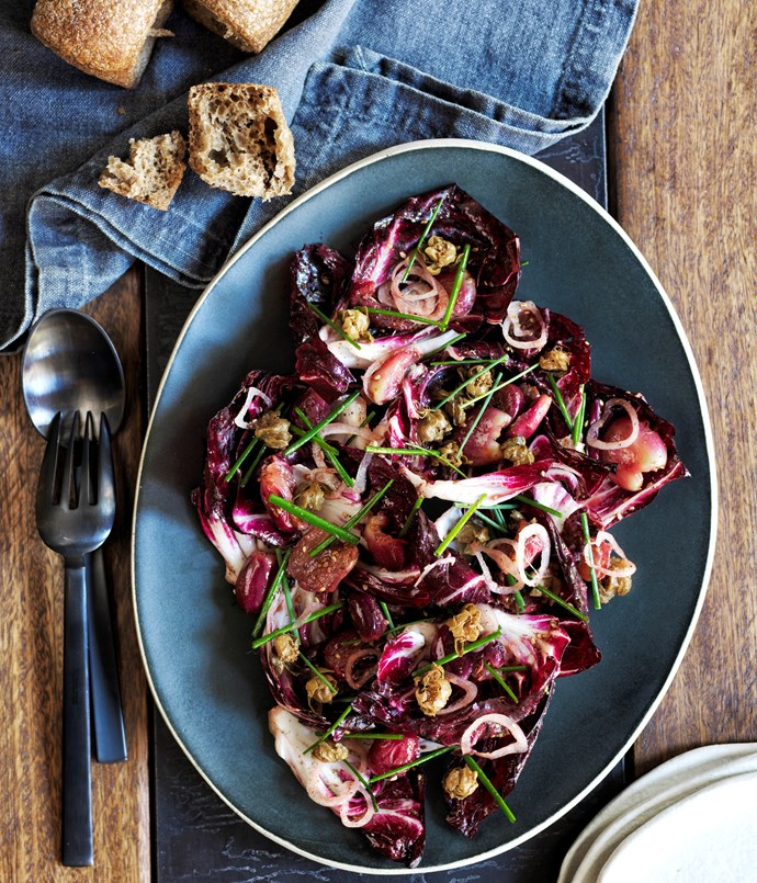 Automata's radicchio salad with blistered grapes, shallot and za'atar