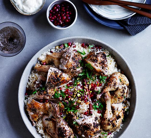 Za'atar roast chicken with pilaf, pomegranate and nuts