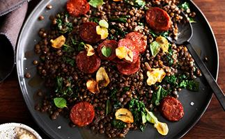 Green lentils with salami and cavolo nero