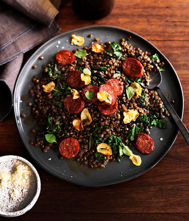 """**[Green lentils with salami and cavolo nero](https://www.gourmettraveller.com.au/recipes/browse-all/green-lentils-with-salami-and-cavolo-nero-12488