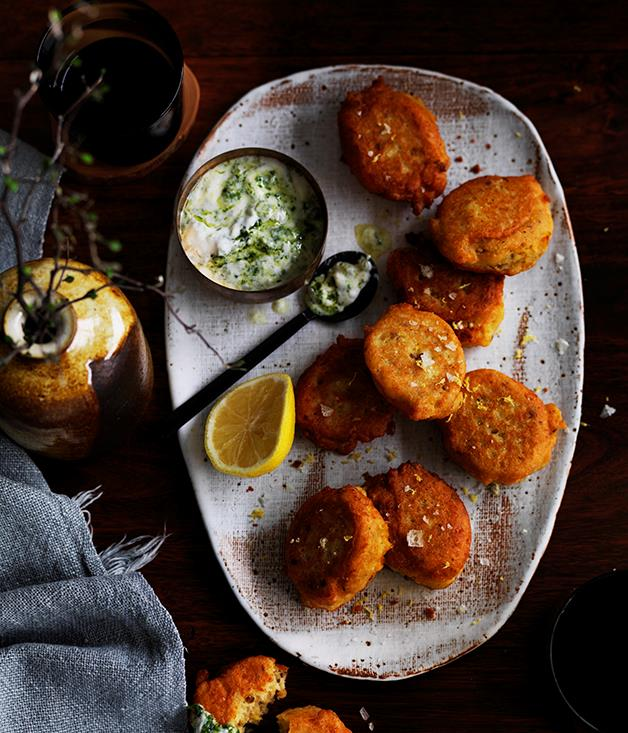 """**[Red lentil fritters with green yoghurt](https://www.gourmettraveller.com.au/recipes/browse-all/red-lentil-fritters-with-green-yoghurt-12514