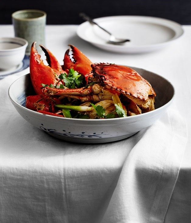 "[**Sautéed mud crab with ginger and spring onion (Keong chung hai)**](https://www.gourmettraveller.com.au/recipes/chefs-recipes/sauteed-mud-crab-with-ginger-and-spring-onion-keong-chung-hai-8109|target=""_blank"")"