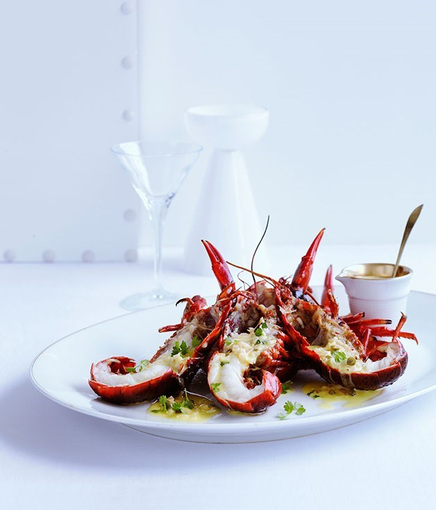 "[**Black marron with green peppercorn and martini sauce**](https://www.gourmettraveller.com.au/recipes/browse-all/black-marron-with-green-peppercorn-and-martini-sauce-10268|target=""_blank"")"