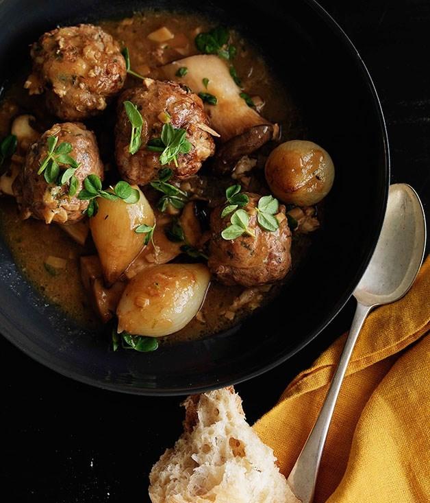 **Shane Delia: Braised duck and chestnut kofta with king brown mushrooms**