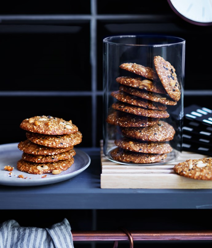 Salted peanut and sesame biscuits