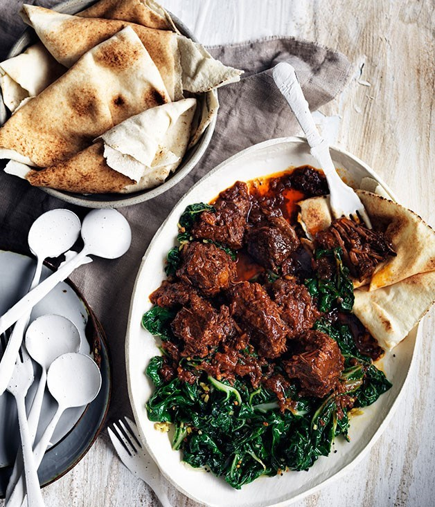 **Berbere beef stew and spiced silverbeet**