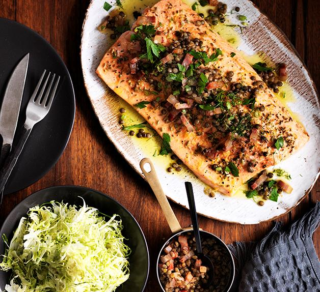 Roast trout with warm green lentil and bacon dressing