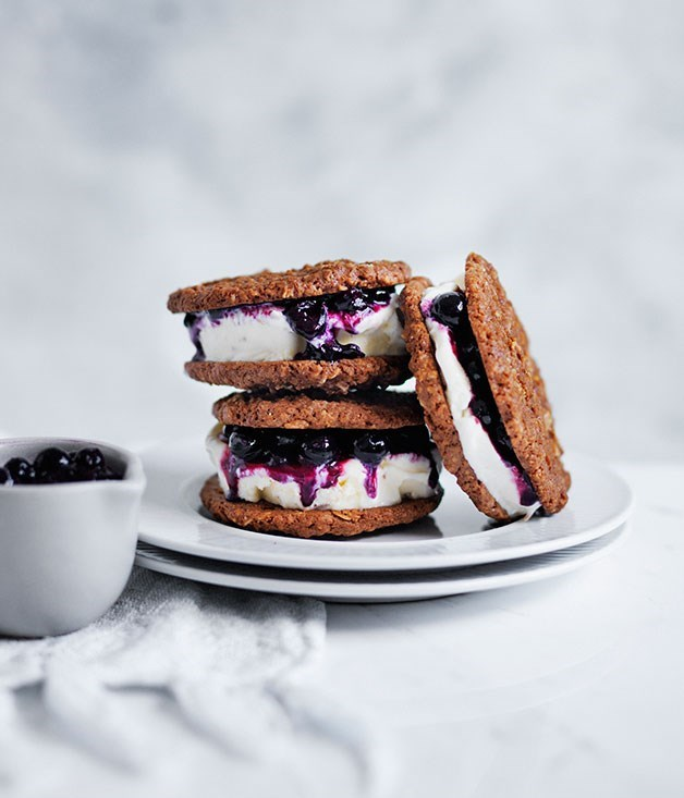 **Blueberry and coconut ice-cream sandwiches**