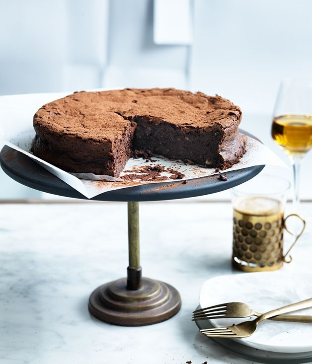 "[**Flourless chocolate, hazelnut and buttermilk cake**](https://www.gourmettraveller.com.au/recipes/browse-all/flourless-chocolate-hazelnut-and-buttermilk-cake-12475|target=""_blank"") <br><br> A great flourless chocolate cake is essential to any baking repertoire. This one is super-moist yet holds well for a long time. It's important to cool it completely before it's served, or it may crumble as it's sliced."