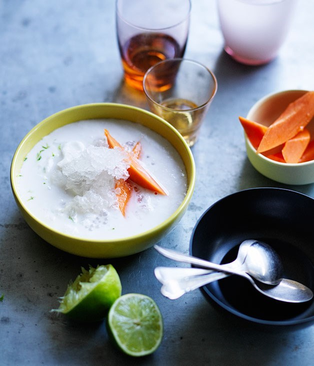 "[**Young coconut and papaya bubble soup**](https://www.gourmettraveller.com.au/recipes/browse-all/young-coconut-and-papaya-bubble-soup-11891|target=""_blank"") <br><br> This ultra-refreshing soup is chilled instantly by adding shaved ice. If you don't have an ice shaver, you could crush ice in the food processor. Or, if you have a little time up your sleeve, freeze the young coconut water in a shallow tray, then scrape it into crystals with a fork and use this instead - made this way it's a triple textural coconut whammy."
