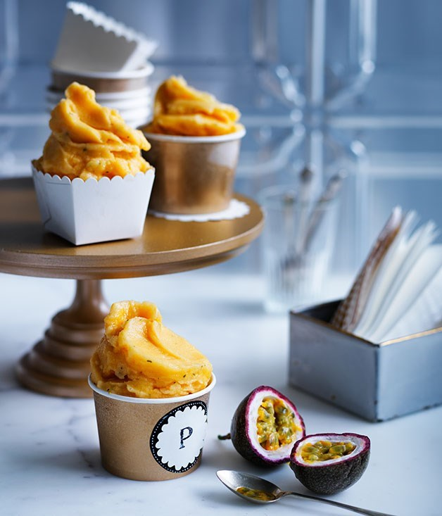 "[**Passionfruit-mint sorbetto**](https://www.gourmettraveller.com.au/recipes/browse-all/passionfruit-mint-sorbetto-13969|target=""_blank"") <br><br> The intense flavours of this sorbetto are pure and clean, and really need little in the way of accompaniment - a drizzle of extra passionfruit pulp is delicious but entirely optional."