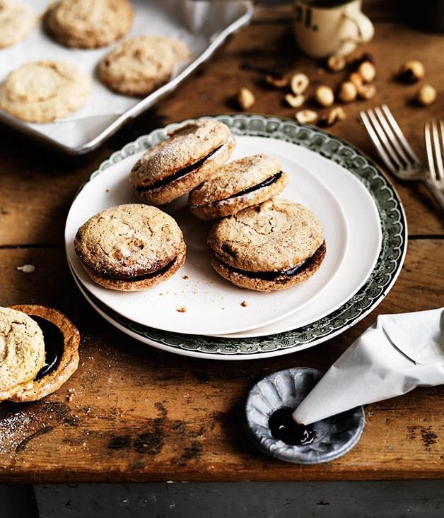"""[**Crisp hazelnut meringues**](https://www.gourmettraveller.com.au/recipes/chefs-recipes/crisp-hazelnut-meringues-8053