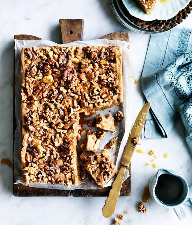 """[**Walnut, maple and milk chocolate fudge**](https://www.gourmettraveller.com.au/recipes/chefs-recipes/walnut-maple-and-milk-chocolate-fudge-8221