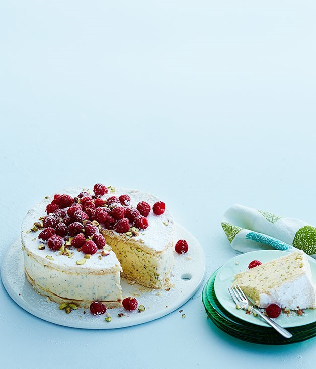 "[**Pistachio vacherin**](https://www.gourmettraveller.com.au/recipes/browse-all/pistachio-vacherin-12319|target=""_blank"") <br><br> Velvety pistachio ice-cream sandwiched between rounds of meringue? A perfect way to cap off a meal."