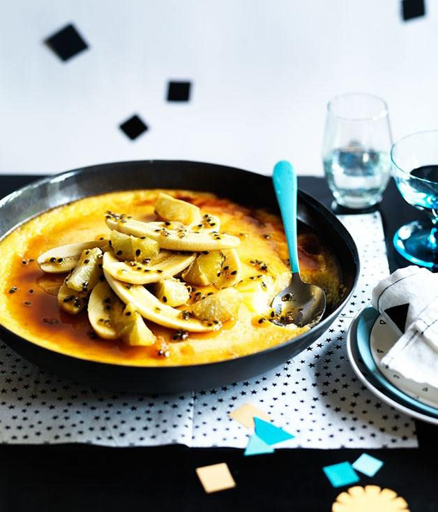 """[**Rice pudding with passionfruit, caramelised banana and lime**](https://www.gourmettraveller.com.au/recipes/browse-all/rice-pudding-with-passionfruit-caramelised-banana-and-lime-12090