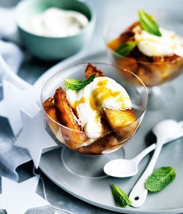 "[**Caramelised pineapple with vanilla yoghurt**](https://www.gourmettraveller.com.au/recipes/fast-recipes/caramelised-pineapple-with-vanilla-yoghurt-13552|target=""_blank"") <br><br> If yoghurt isn't your favourite or you don't have any on hand, you can switch this for crème fraîche or ice-cream."