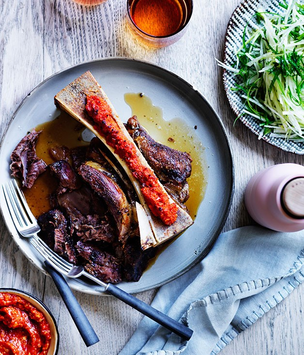 Beef shin with romesco and lemon