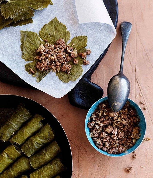 **LAMB DOLMADES** These traditional Greek vine-leaf parcels contain minced lamb, rice, mint and spices. Enjoy with avgolemono sauce.