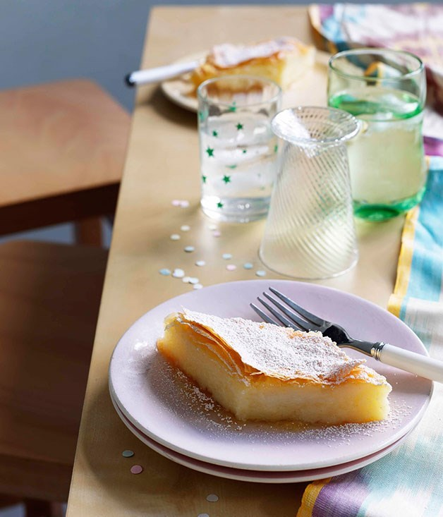 **GALAKTOBOUREKO** Galaktoboureko is a much loved traditional Greek custard dessert that is sprinkled with melted butter and doused in sweet syrup. For maximum flavour, dust it with icing sugar or cinnamon.