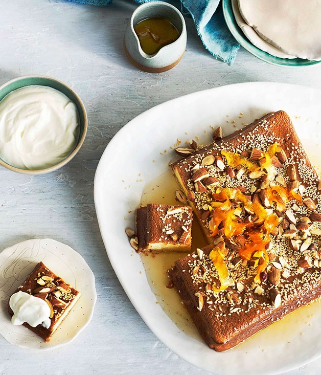 **REVANI** Revani, named after 16th century libertine poet of the same name, is a deliciously fluffy semolina cake. While some choose to only drench it in syrup, we like it with a dusting of almonds and a side of yoghurt.
