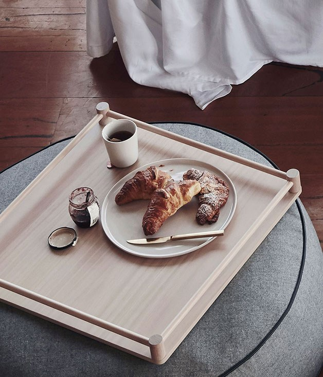**Grazia and Co Tommy tray** For an extra special Mother's Day treat, why not serve breakfast in bed on this beautiful Australian-made Grazia and Co Tommy tray. The sweet railing-style handle will keep the pastries in place. _Available from Hunting for George, $449, huntingforgeorge.com_