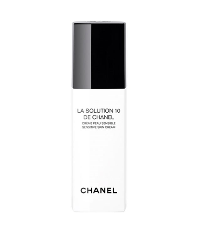 **Chanel moisturiser** Chanel's new 10-ingredient moisturiser, La Solution 10 de Chanel, is formulated specifically for sensitive skin and will help to soothe and de-stress all at once. _$132, chanel.com_