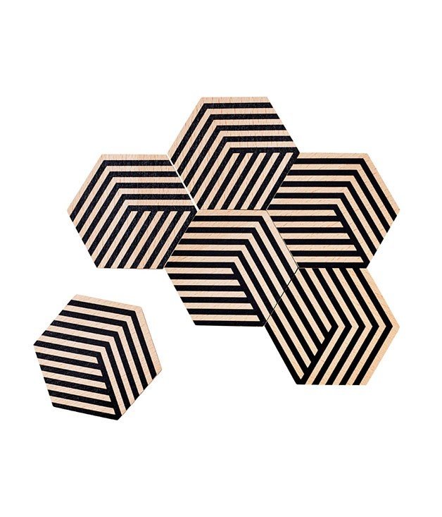 **Bower for Areaware coasters** A little something for the geometry enthusiast: Areaware's tessellating coasters can be artfully arranged in a range of permutations. _$29.95 for a set of six, until.com.au_