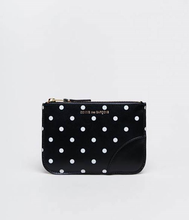 **Comme des Garçons dot print wallet** If a crisp white shirt and eye-catching accessories sounds like your mum's uniform, then look no further than a _Comme des Garçons _ polka-dot purse. They're fun, functional and will double as her next statement clutch. _$190, available at incu.com_