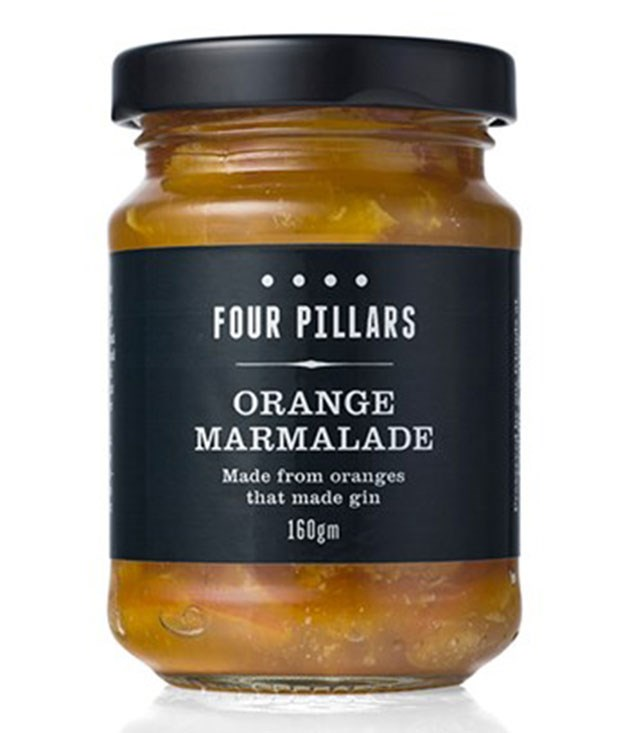 **Four Pillars orange marmalade** The kilos of oranges that flavoured each batch of Four Pillars Gin used to be discarded, until Caroline Gray from A Bit of Jam and Pickle suggested using them in marmalade. The result is complex and not too sweet (and perfect with a warm croissant). _$9 for 160gm, fourpillarsgin.com.au_